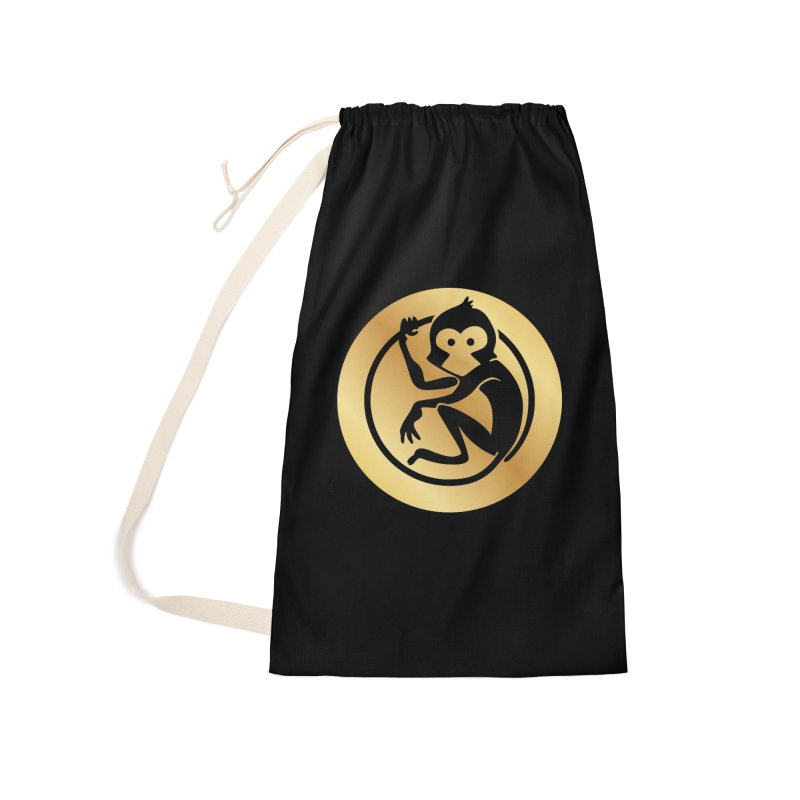 Monkey Gold Large Logo Accessories Laundry Bag Bag by The m0nk3y Merchandise Store