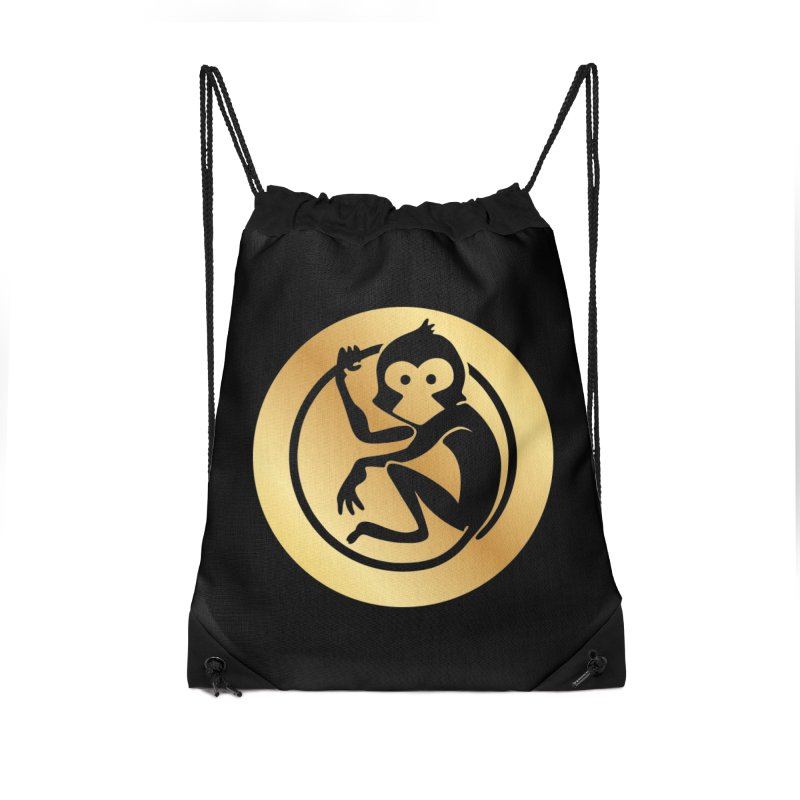 Monkey Gold Large Logo Accessories Drawstring Bag Bag by The m0nk3y Merchandise Store