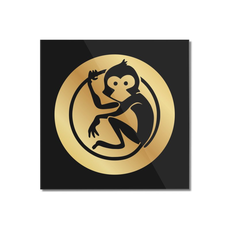 Monkey Gold Large Logo Home Mounted Acrylic Print by The m0nk3y Merchandise Store
