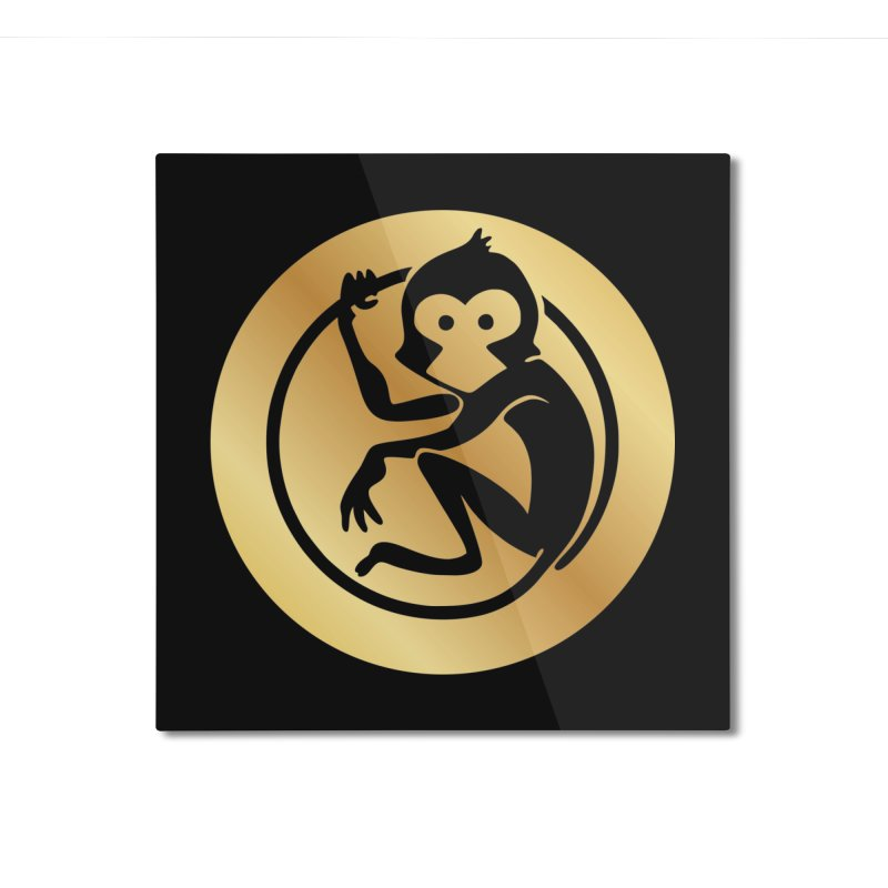 Monkey Gold Large Logo Home Mounted Aluminum Print by The m0nk3y Merchandise Store