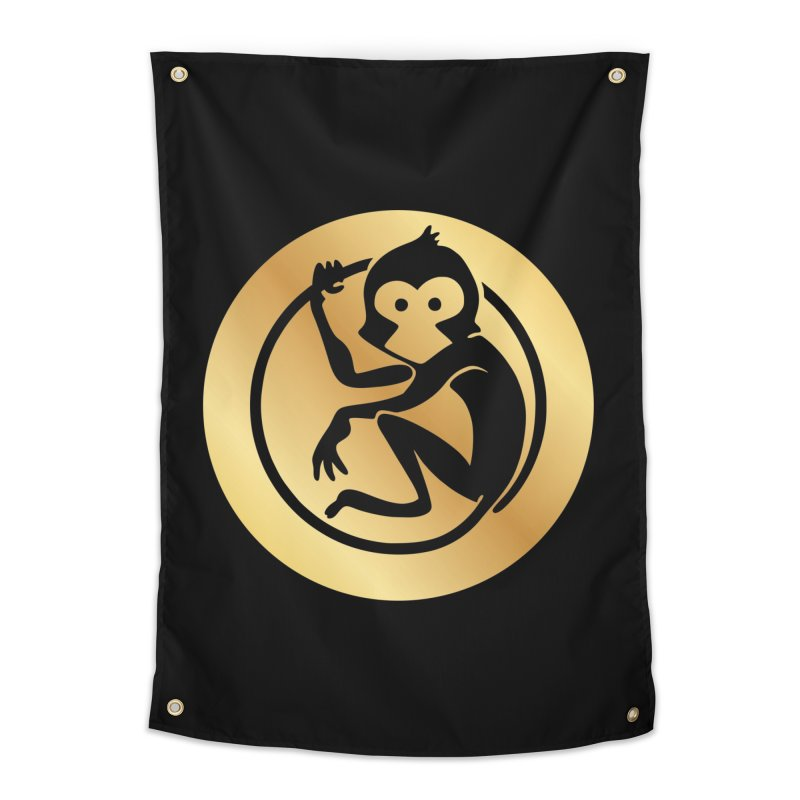 Monkey Gold Large Logo Home Tapestry by The m0nk3y Merchandise Store