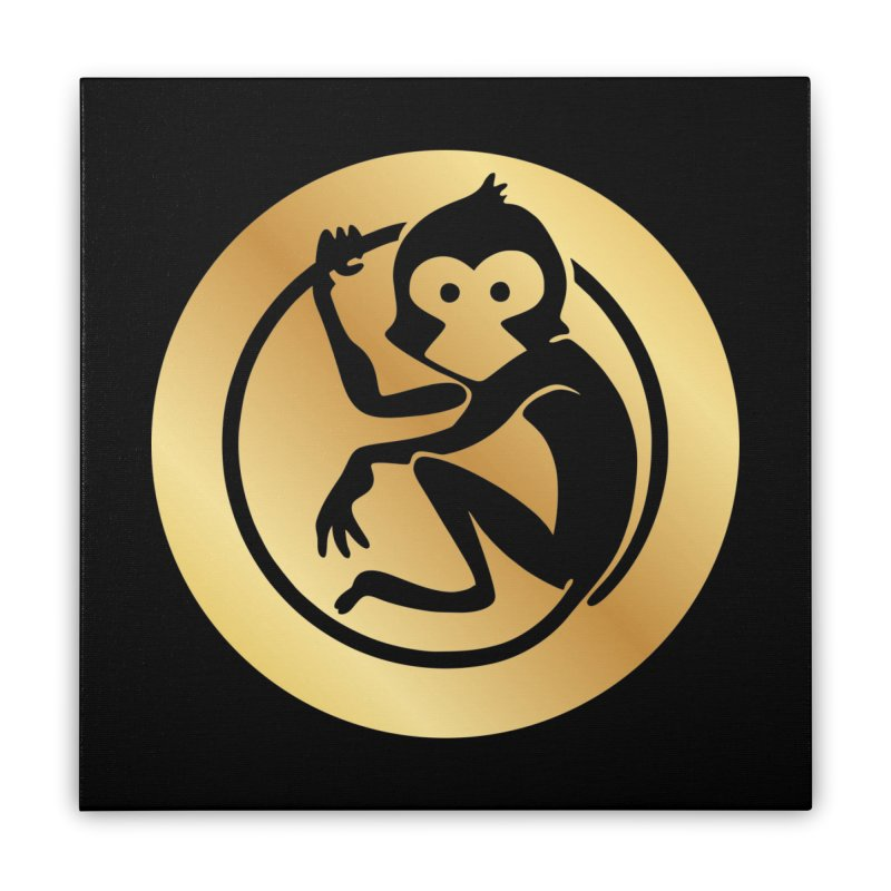 Monkey Gold Large Logo Home Stretched Canvas by The m0nk3y Merchandise Store