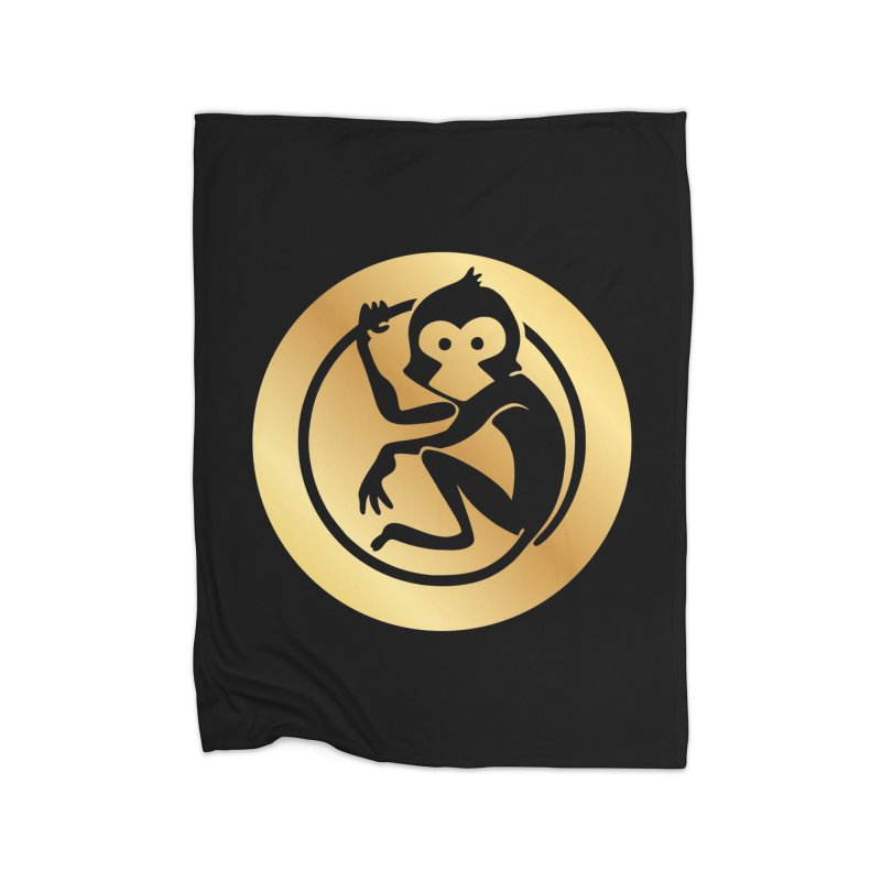 Monkey Gold Large Logo Home Fleece Blanket Blanket by The m0nk3y Merchandise Store