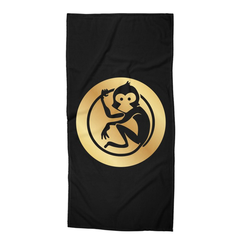 Monkey Gold Large Logo Accessories Beach Towel by The m0nk3y Merchandise Store