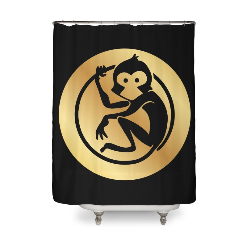 Monkey Gold Large Logo Home Shower Curtain by The m0nk3y Merchandise Store