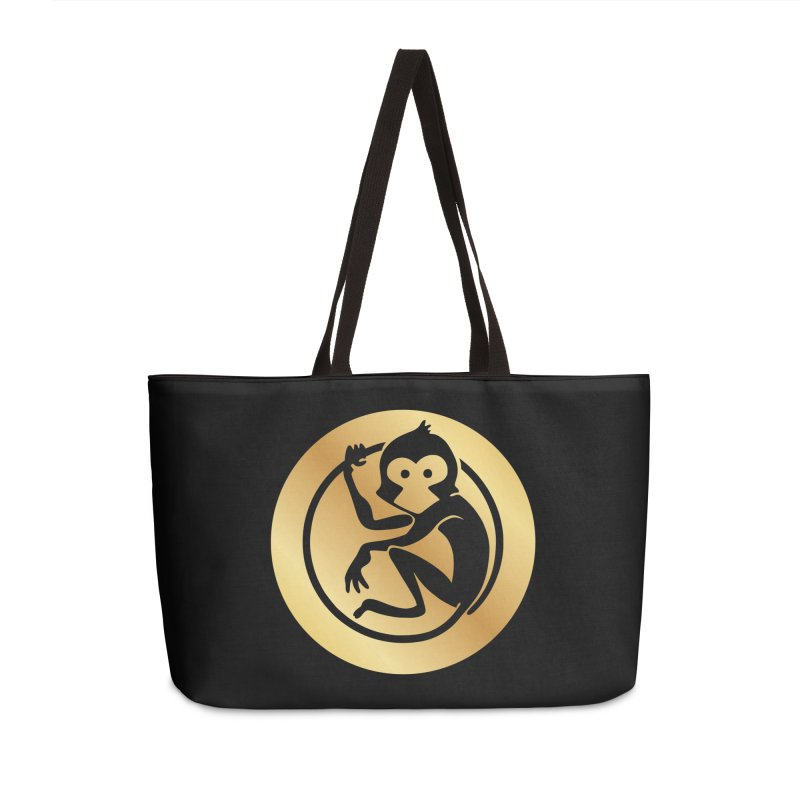Monkey Gold Large Logo Accessories Weekender Bag Bag by The m0nk3y Merchandise Store