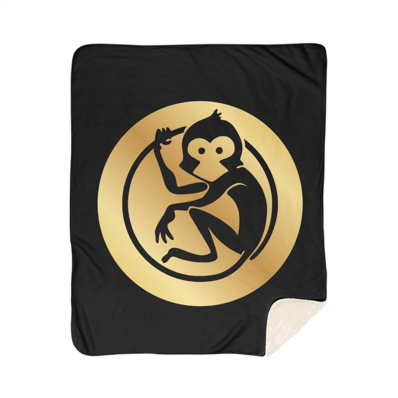 Monkey Gold Large Logo Home Sherpa Blanket Blanket by The m0nk3y Merchandise Store