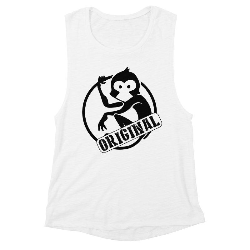 Monkey Original Large Logo Women's Muscle Tank by The m0nk3y Merchandise Store