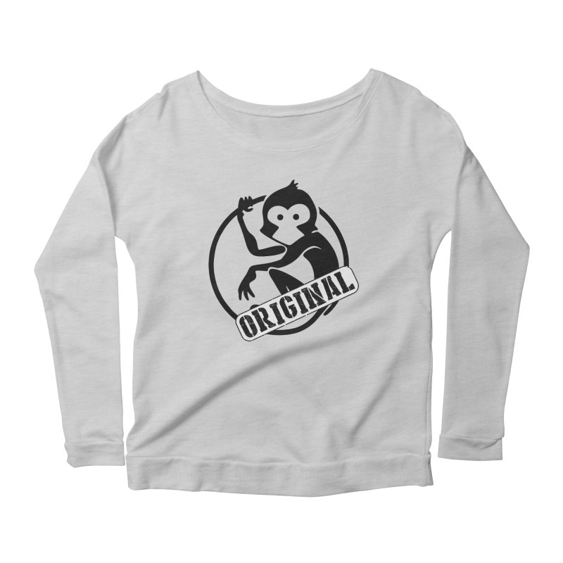 Monkey Original Large Logo Women's Scoop Neck Longsleeve T-Shirt by The m0nk3y Merchandise Store
