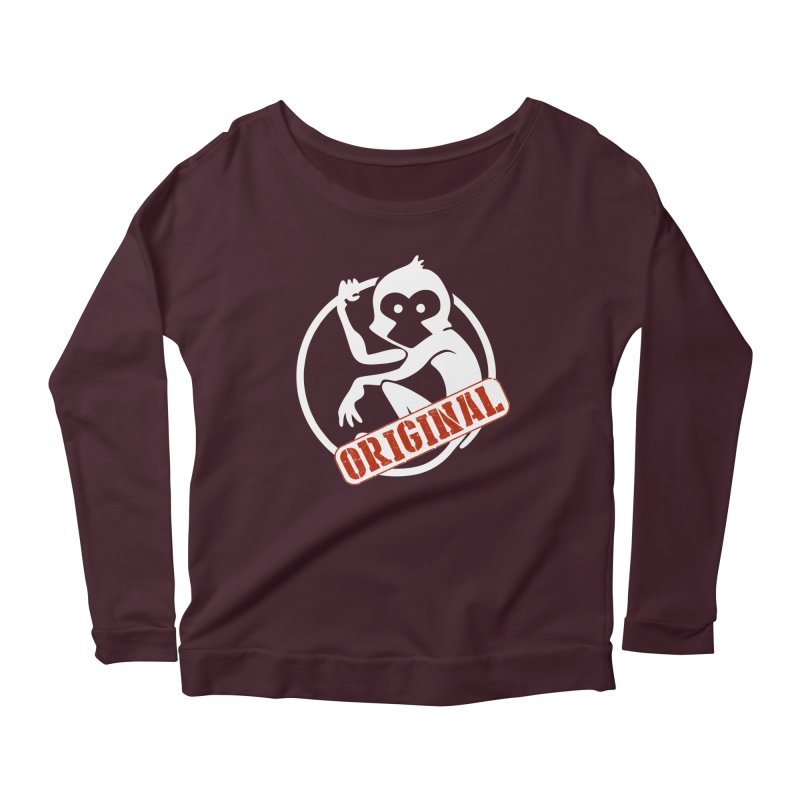 Monkey Original Large Logo Women's Scoop Neck Longsleeve T-Shirt by The m0nk3y Merchandise Store