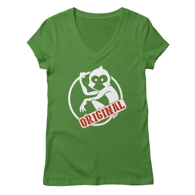 Monkey Original Large Logo Women's Regular V-Neck by The m0nk3y Merchandise Store