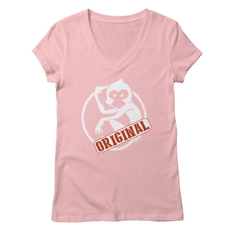 Monkey Original Large Logo Women's Regular V-Neck by The m0nk3y Merchandise Store