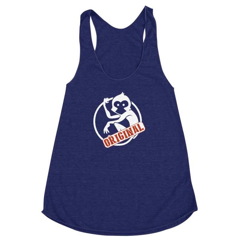 Monkey Original Large Logo Women's Racerback Triblend Tank by The m0nk3y Merchandise Store