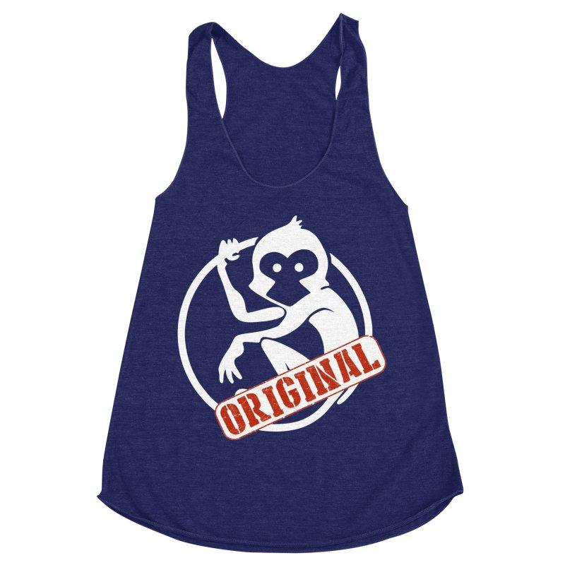 Monkey Original Large Logo Women's Racerback Triblend Tank by The m0nk3y Merchandise Store