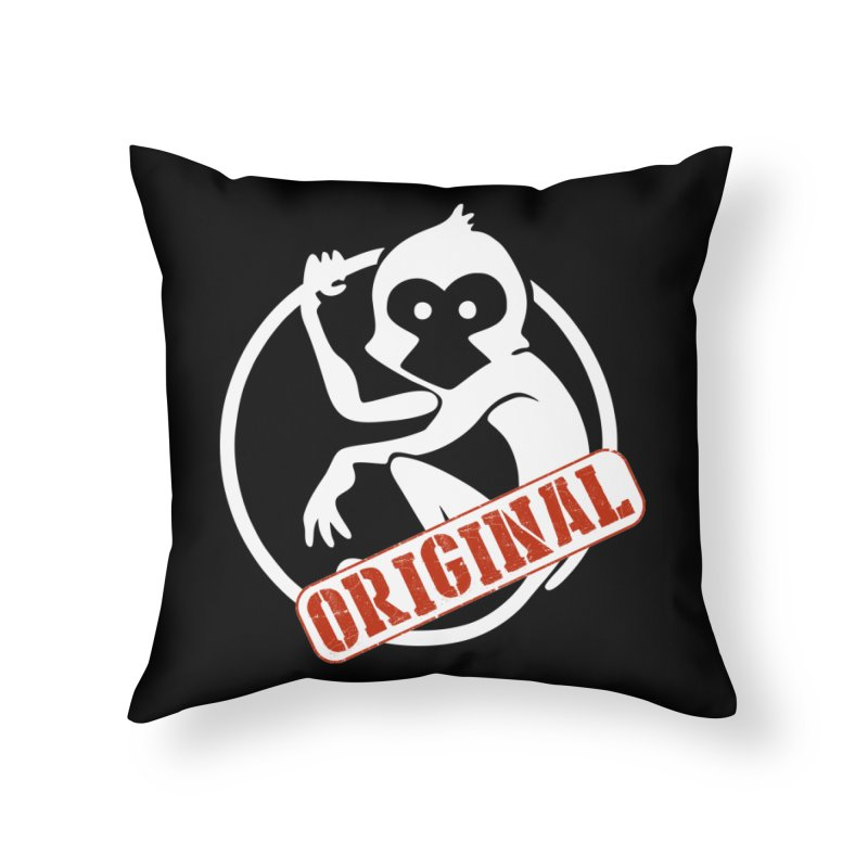 Monkey Original Large Logo Home Throw Pillow by The m0nk3y Merchandise Store