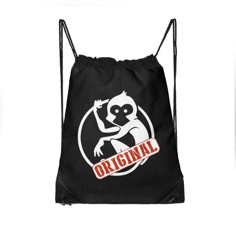 Monkey Original Large Logo Accessories Drawstring Bag Bag by The m0nk3y Merchandise Store