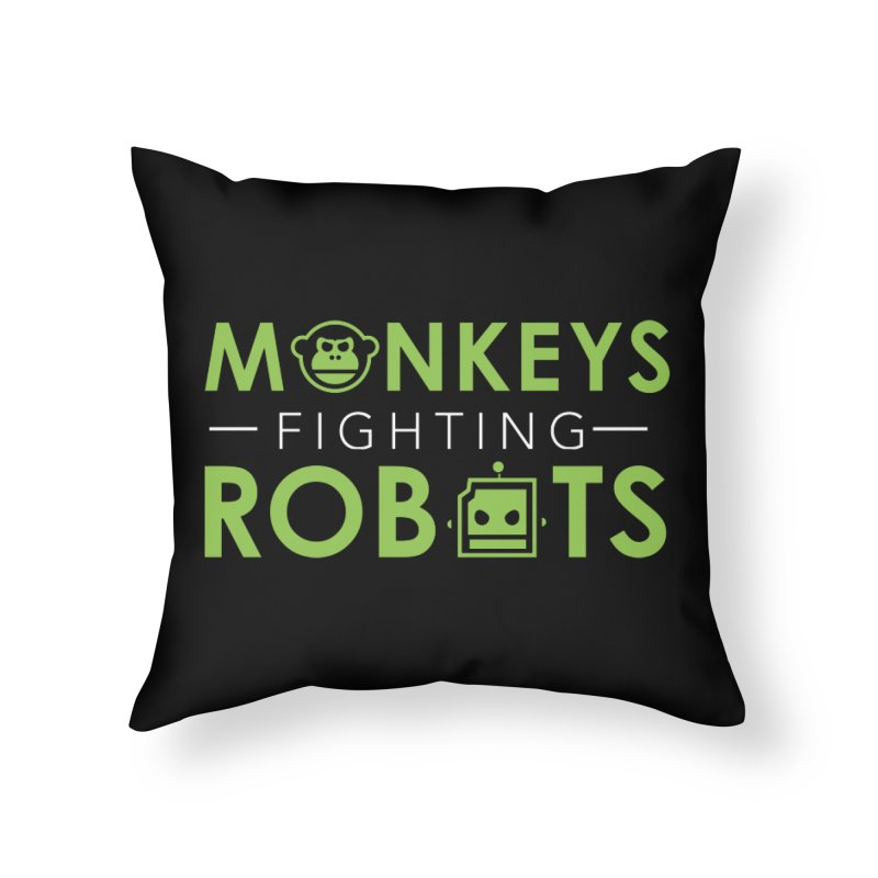 Monkeys Fighting Robots Original  Home Throw Pillow by Monkeys Fighting Robots' Artist Shop