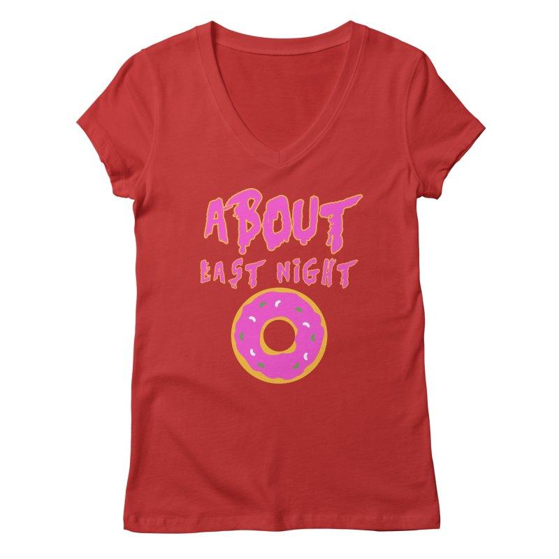 About Last Night's Donut  Women's V-Neck by Monkeys Fighting Robots' Artist Shop