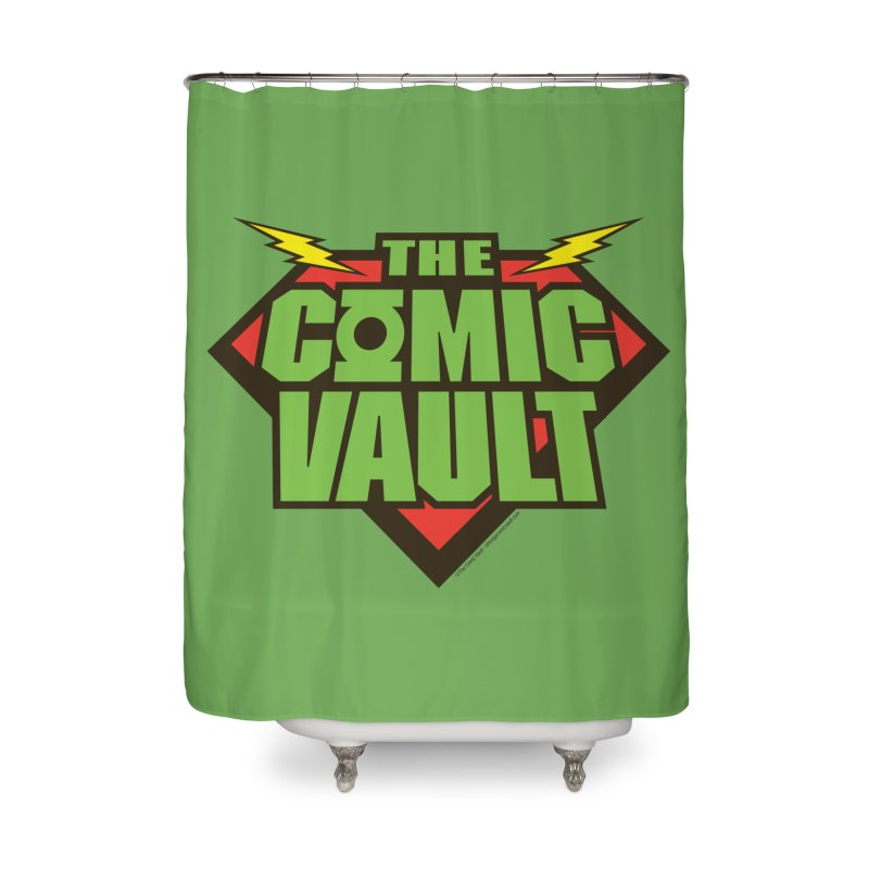 Chicago Comic Vault Old School Logo  Home Shower Curtain by Monkeys Fighting Robots' Artist Shop