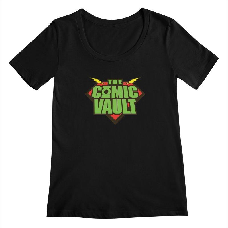 Chicago Comic Vault Old School Logo  Women's Scoopneck by Monkeys Fighting Robots' Artist Shop