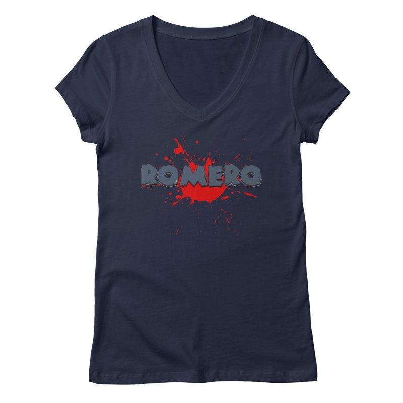 Romero Women's V-Neck by Monkeys Fighting Robots' Artist Shop