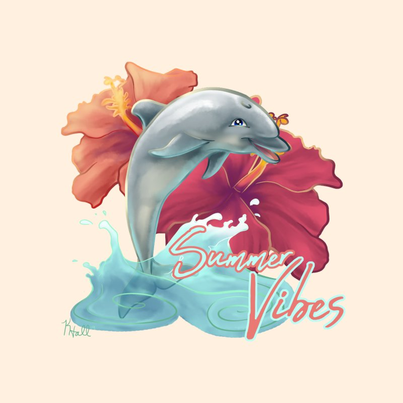 Summer Vibes Hibiscus Dolphin by MonocerosArts Shop