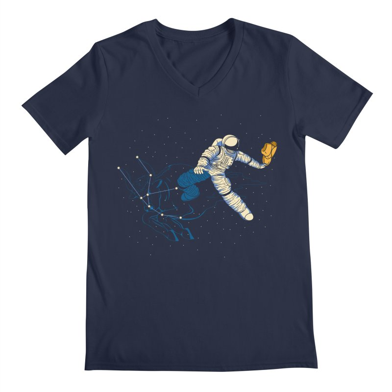 Wild Ride in Space Men's V-Neck by monochromefrog
