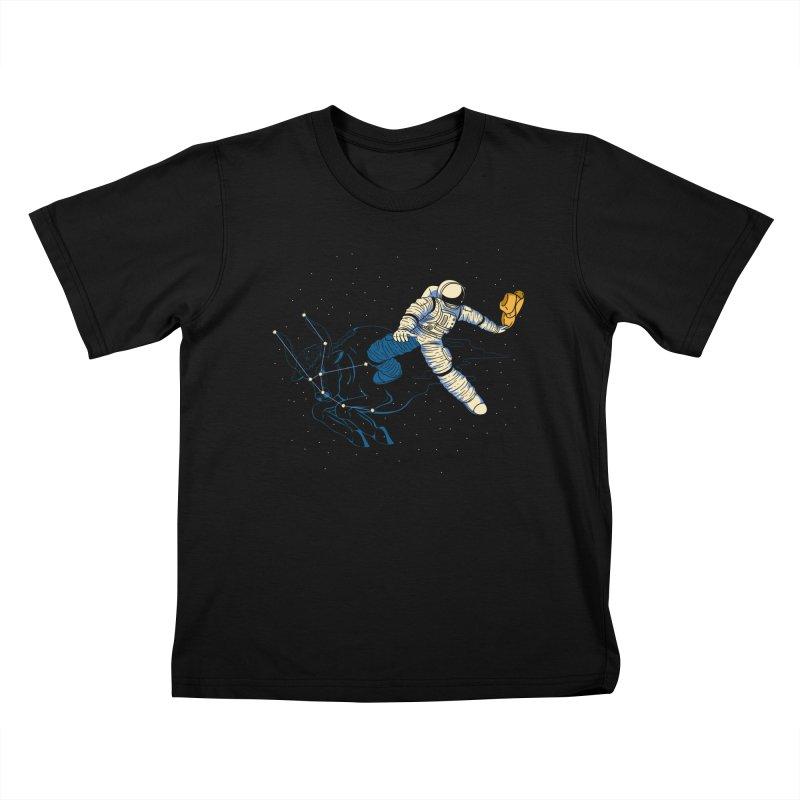 Wild Ride in Space Kids T-Shirt by monochromefrog