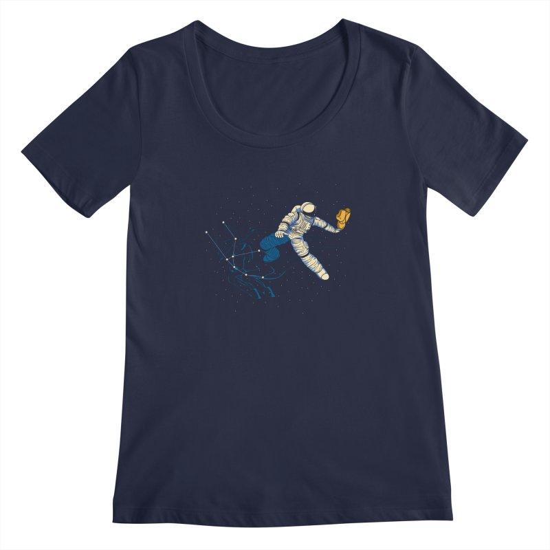 Wild Ride in Space Women's Regular Scoop Neck by monochromefrog