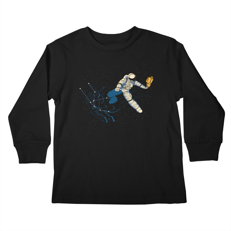Wild Ride in Space Kids Longsleeve T-Shirt by monochromefrog