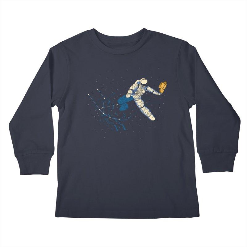 Wild Ride in Space Kids Longsleeve T-Shirt by monochromefrog