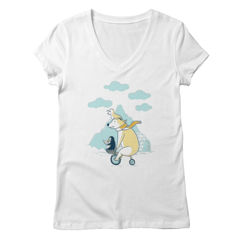 Icy Expedition Women's V-Neck by monochromefrog