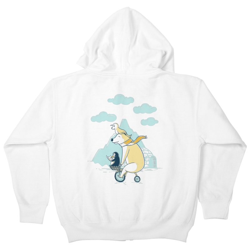 Icy Expedition Kids Zip-Up Hoody by monochromefrog