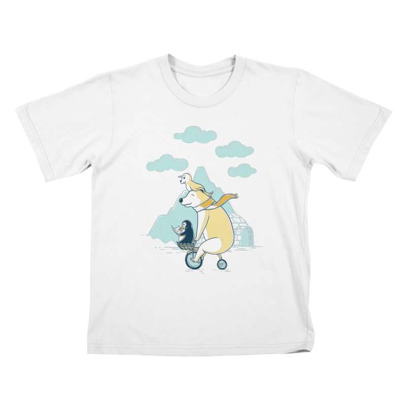 Icy Expedition Kids T-Shirt by monochromefrog
