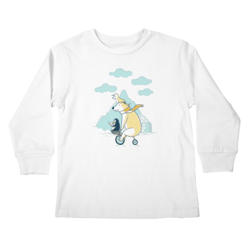Icy Expedition Kids Longsleeve T-Shirt by monochromefrog