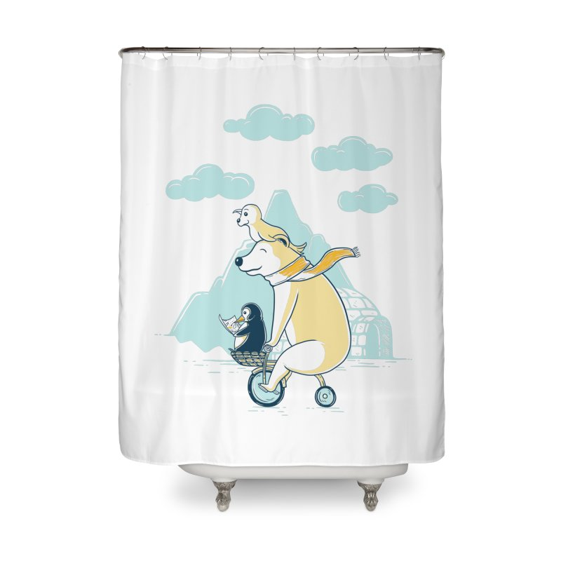 Icy Expedition Home Shower Curtain by monochromefrog