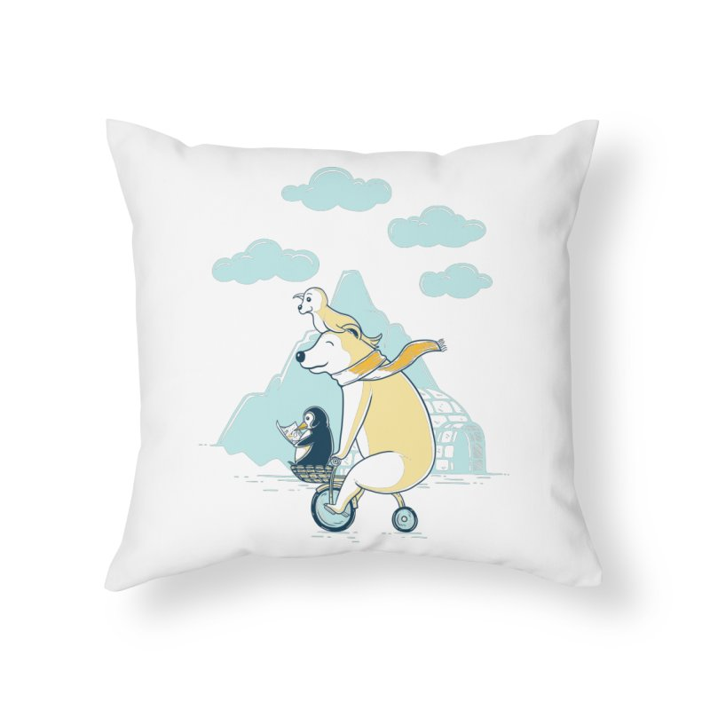 Icy Expedition Home Throw Pillow by monochromefrog