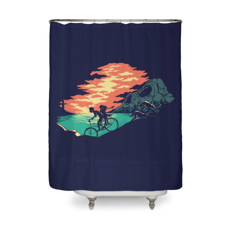 Love Adventure Home Shower Curtain by monochromefrog