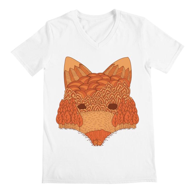 Where The Fox Hides Men's V-Neck by monochromefrog