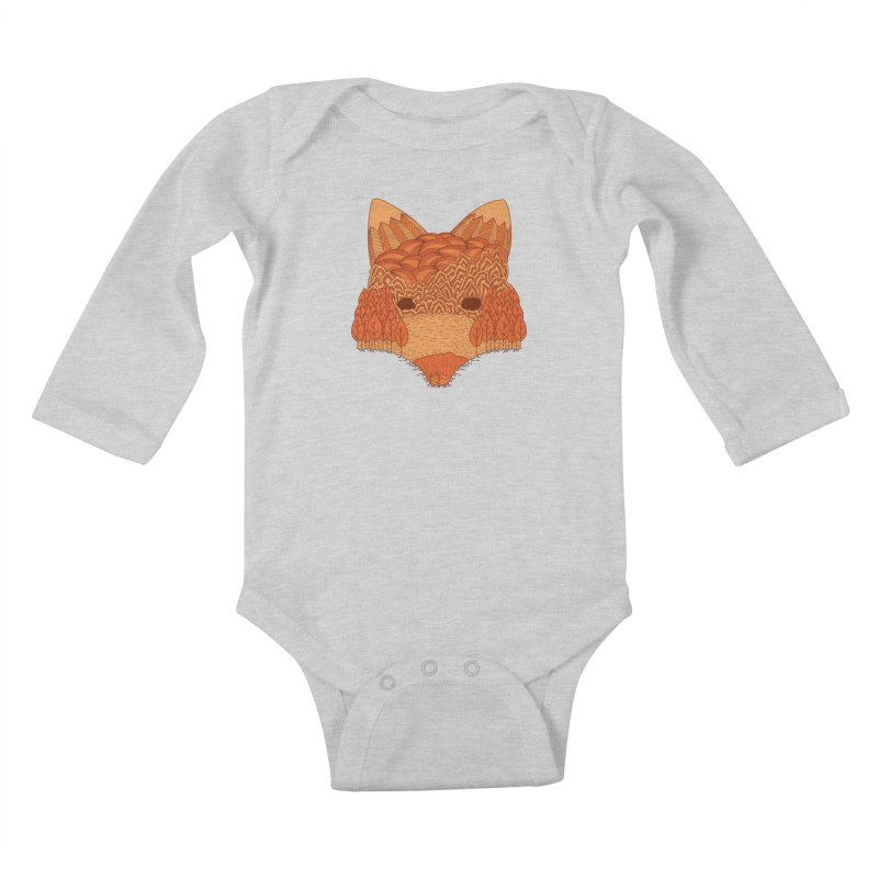 Where The Fox Hides Kids Baby Longsleeve Bodysuit by monochromefrog