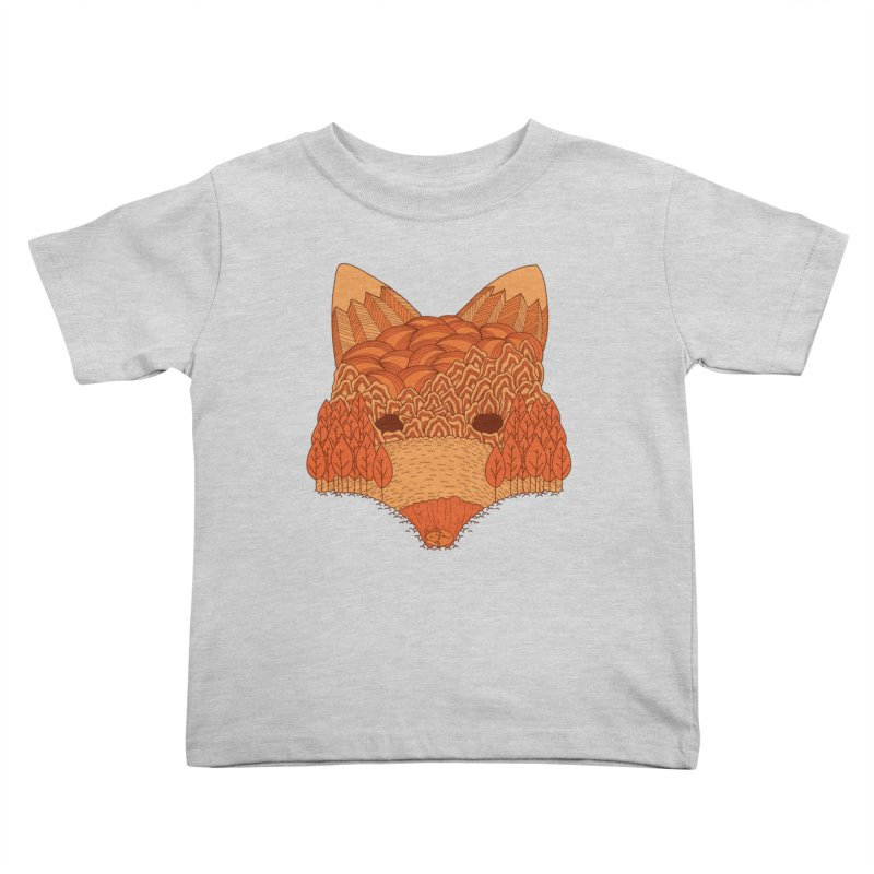 Where The Fox Hides Kids Toddler T-Shirt by monochromefrog