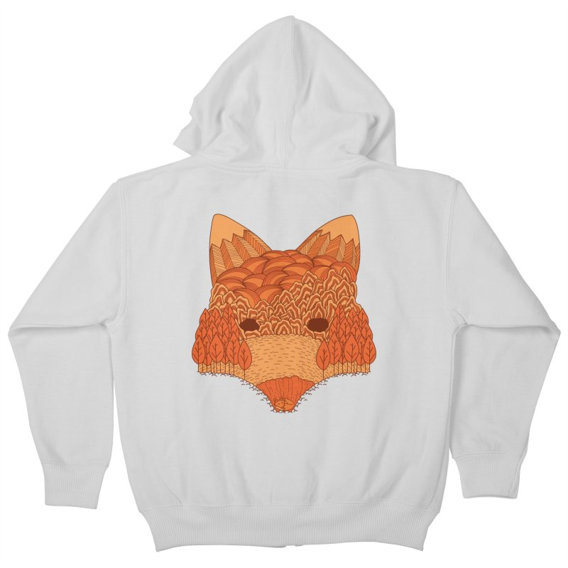 Where The Fox Hides Kids Zip-Up Hoody by monochromefrog