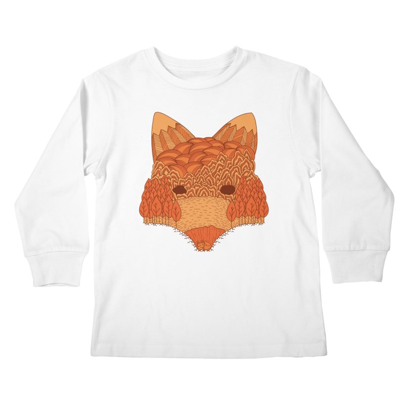 Where The Fox Hides Kids Longsleeve T-Shirt by monochromefrog