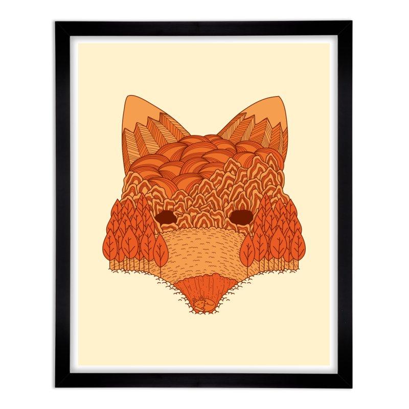 Where The Fox Hides Home Framed Fine Art Print by monochromefrog