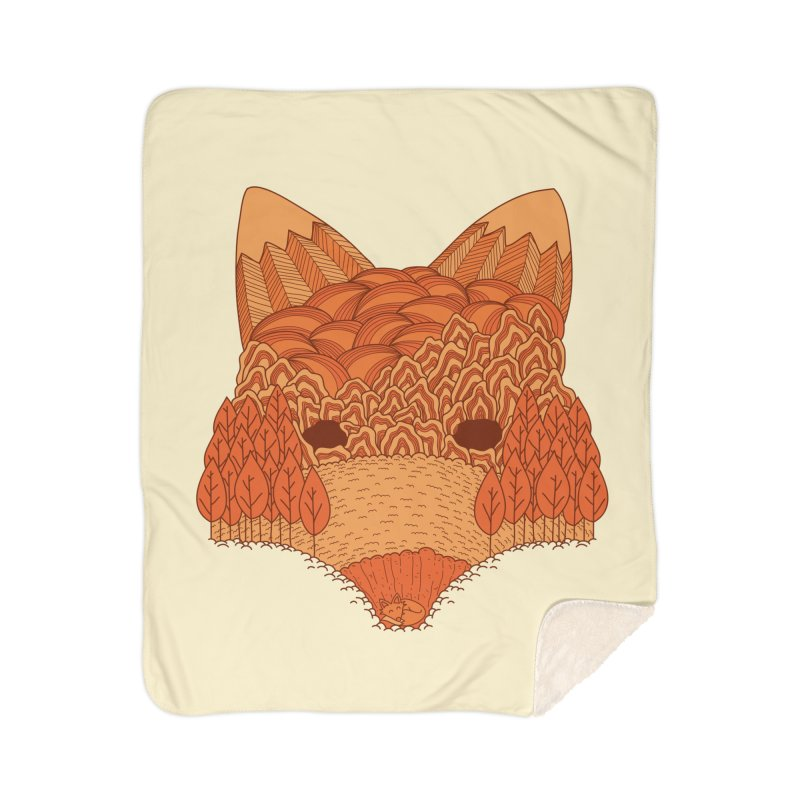 Where The Fox Hides Home Sherpa Blanket Blanket by monochromefrog