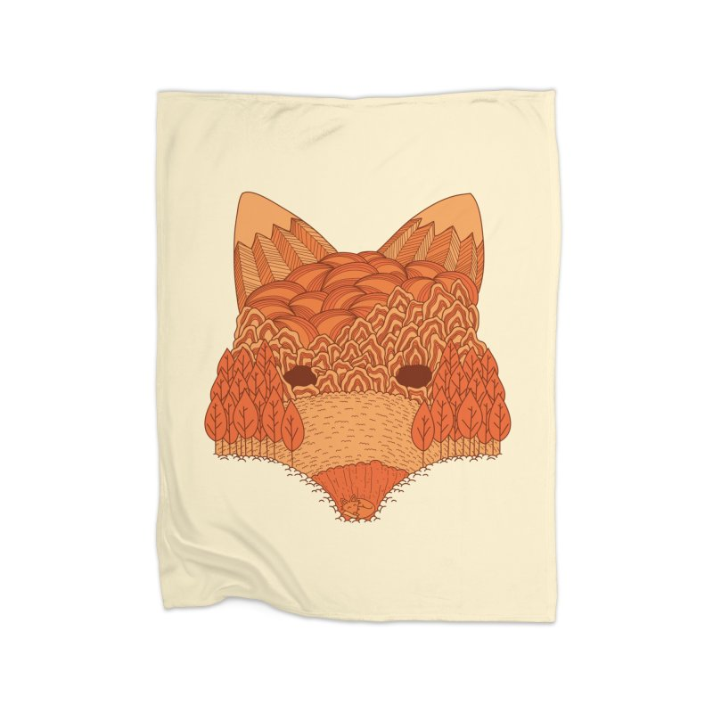 Where The Fox Hides Home Fleece Blanket Blanket by monochromefrog