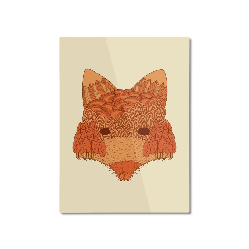 Where The Fox Hides Home Mounted Aluminum Print by monochromefrog