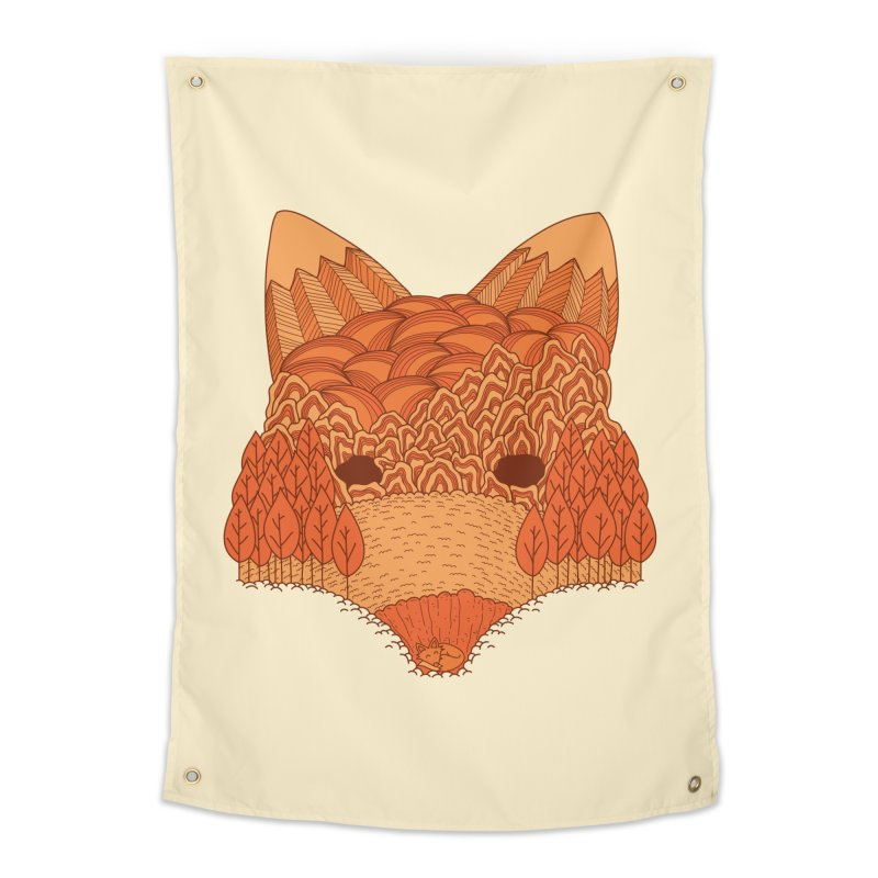 Where The Fox Hides Home Tapestry by monochromefrog