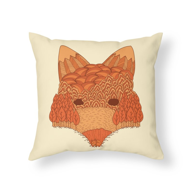 Where The Fox Hides Home Throw Pillow by monochromefrog