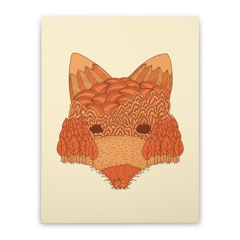 Where The Fox Hides Home Stretched Canvas by monochromefrog